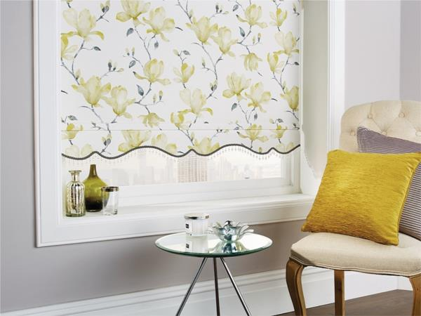 Roller Blind with Georgian Scallop with crystal bead braid (Magnolia Pipin)