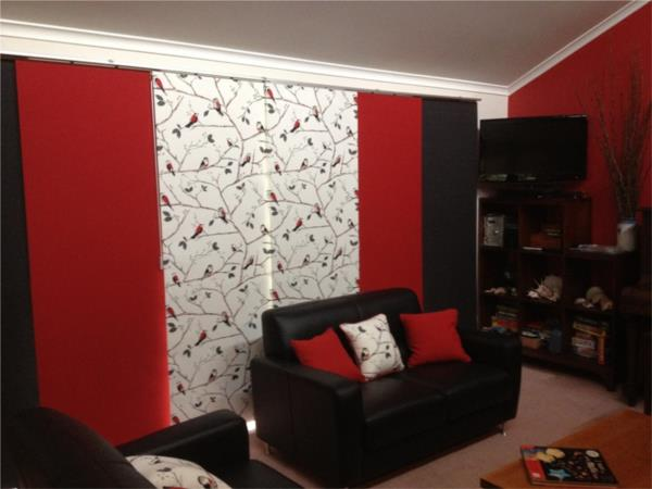 Panel Blinds - Red, Black and Birds B/O