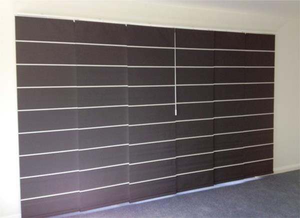 Panel Blinds - block out with white Bali Battons